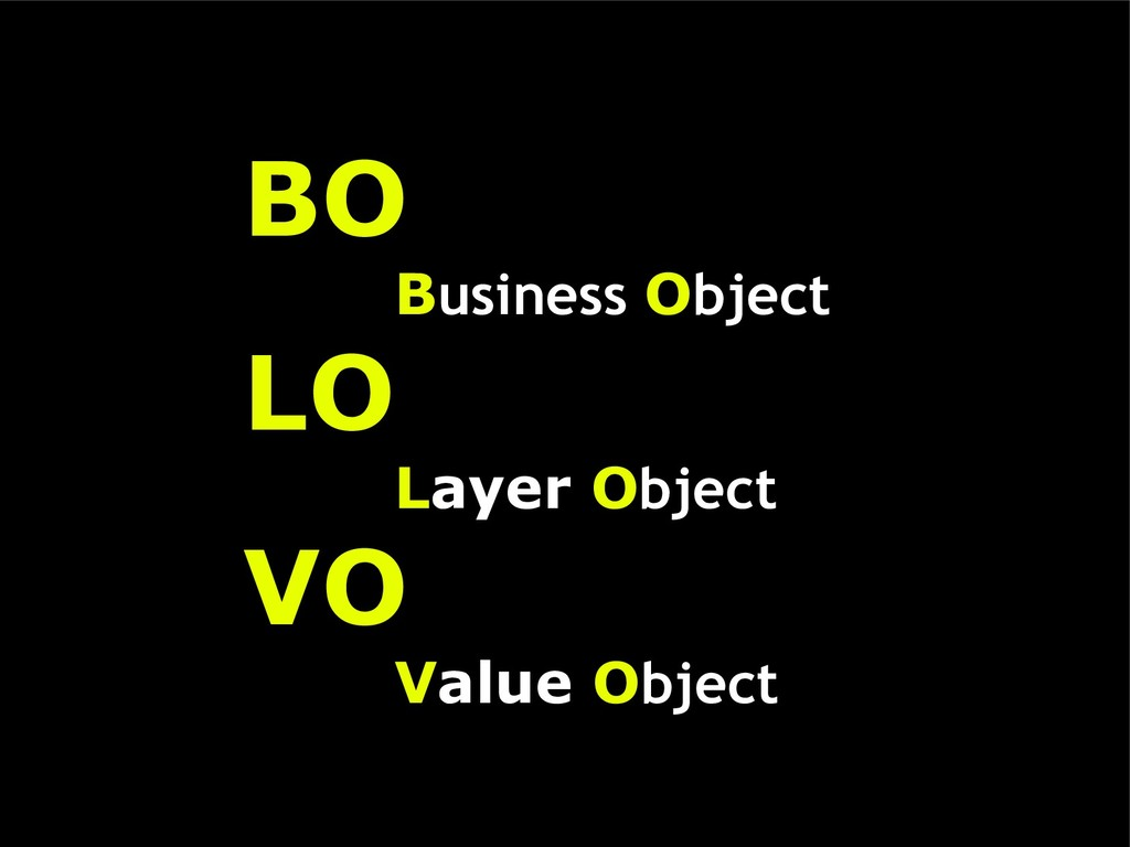 BO Business Object LO Layer Object VO Value Obj...