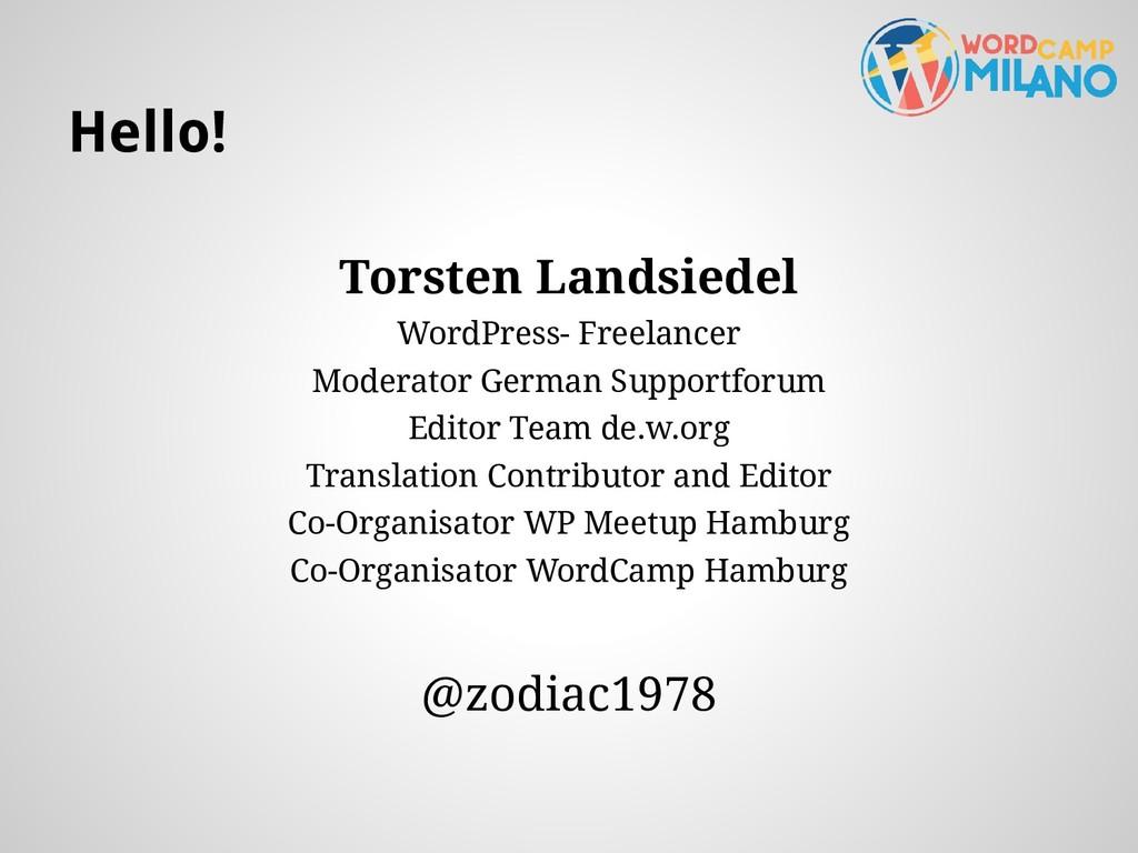 Hello! Torsten Landsiedel WordPress- Freelancer...