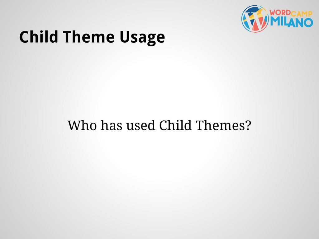 Child Theme Usage Who has used Child Themes?