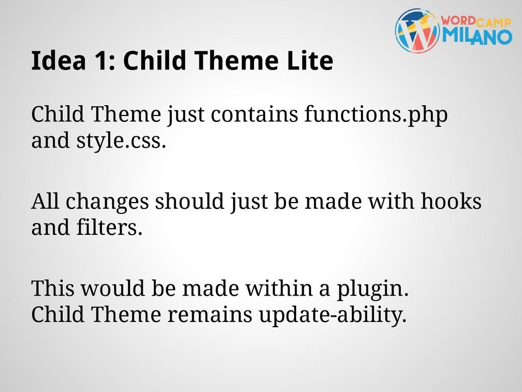 Idea 1: Child Theme Lite Child Theme just conta...