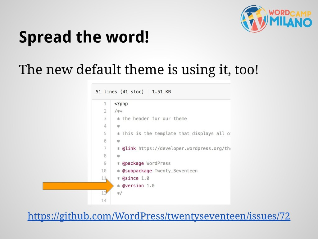 Spread the word! The new default theme is using...