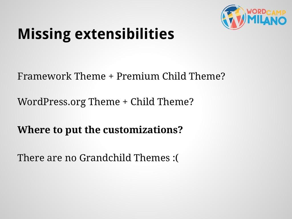 Missing extensibilities Framework Theme + Premi...