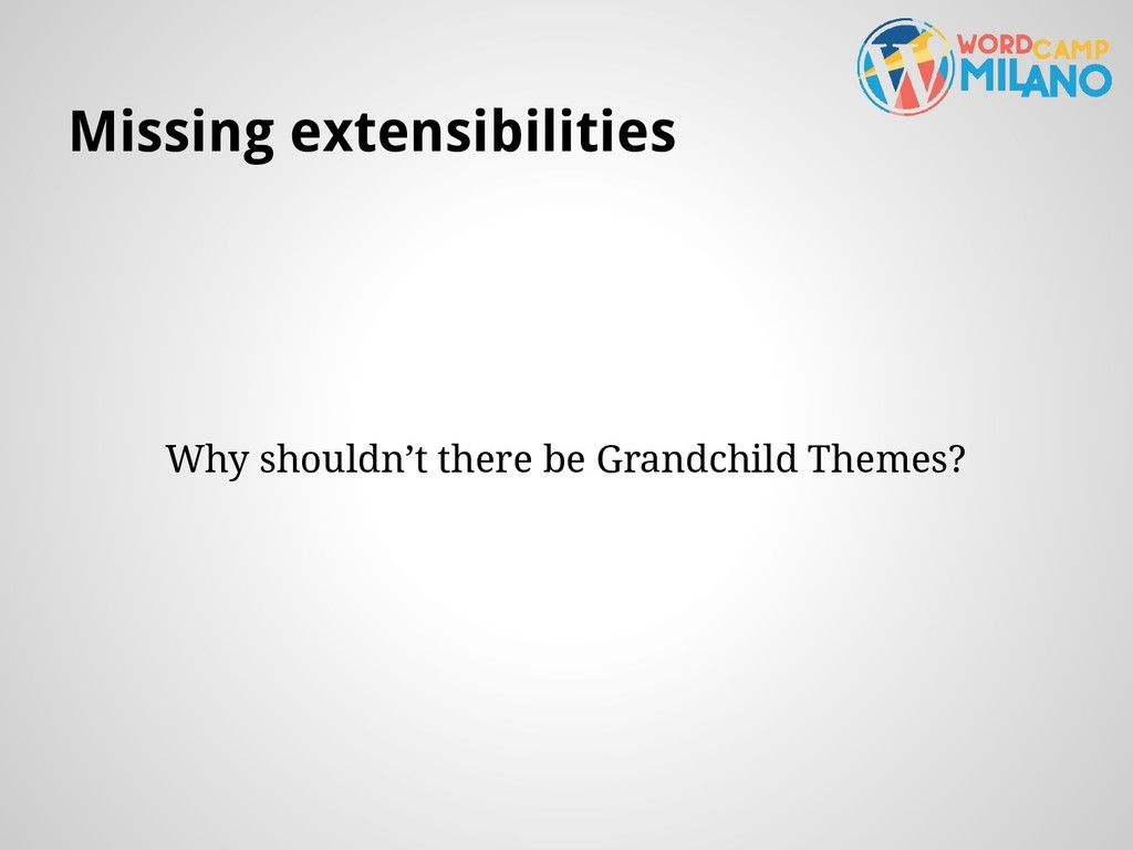 Missing extensibilities Why shouldn't there be ...