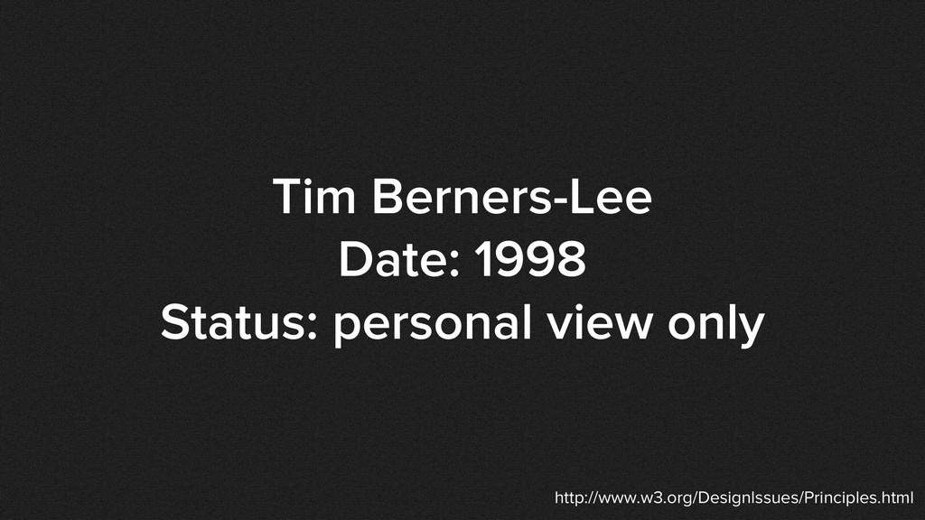 Tim Berners-Lee Date: 1998 Status: personal vie...