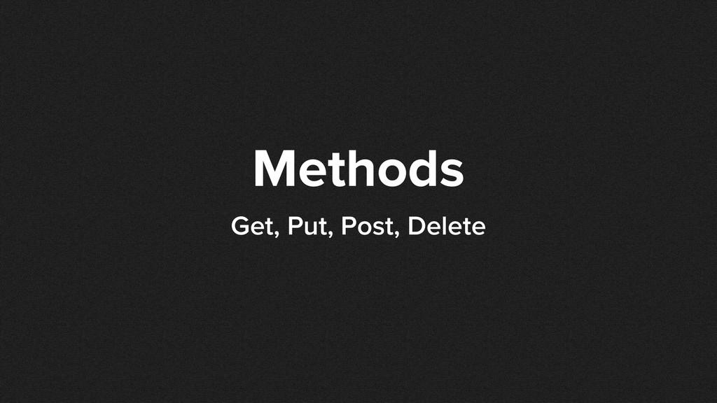 Methods Get, Put, Post, Delete