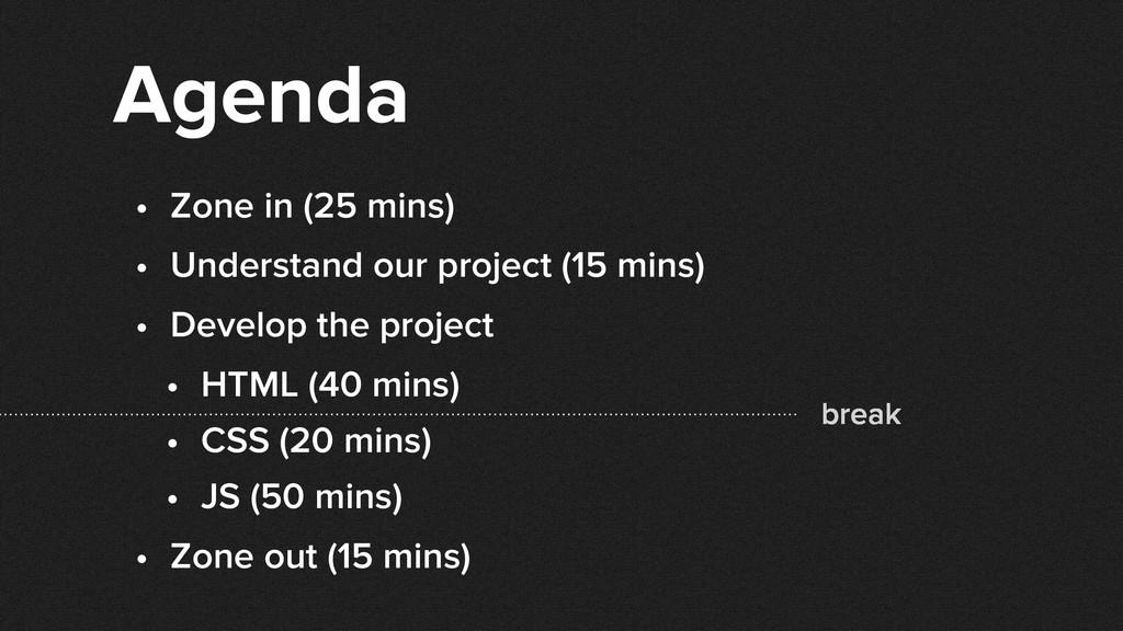 Agenda • Zone in (25 mins) • Understand our pro...