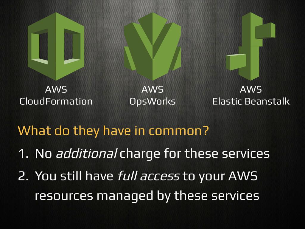 AWS CloudFormation! AWS! OpsWorks! AWS! Elastic...