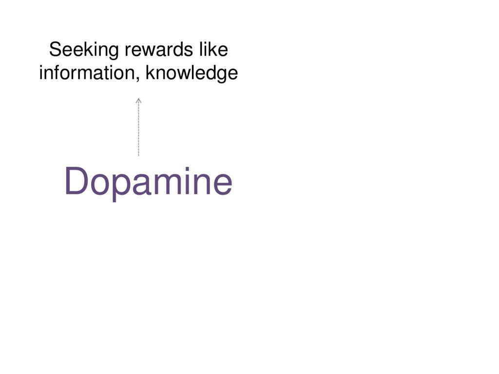 Dopamine + Serotonin Seeking rewards like infor...