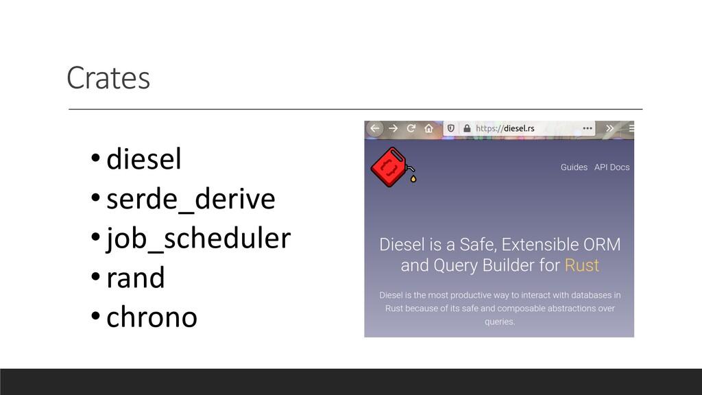 Crates •diesel •serde_derive •job_scheduler •ra...