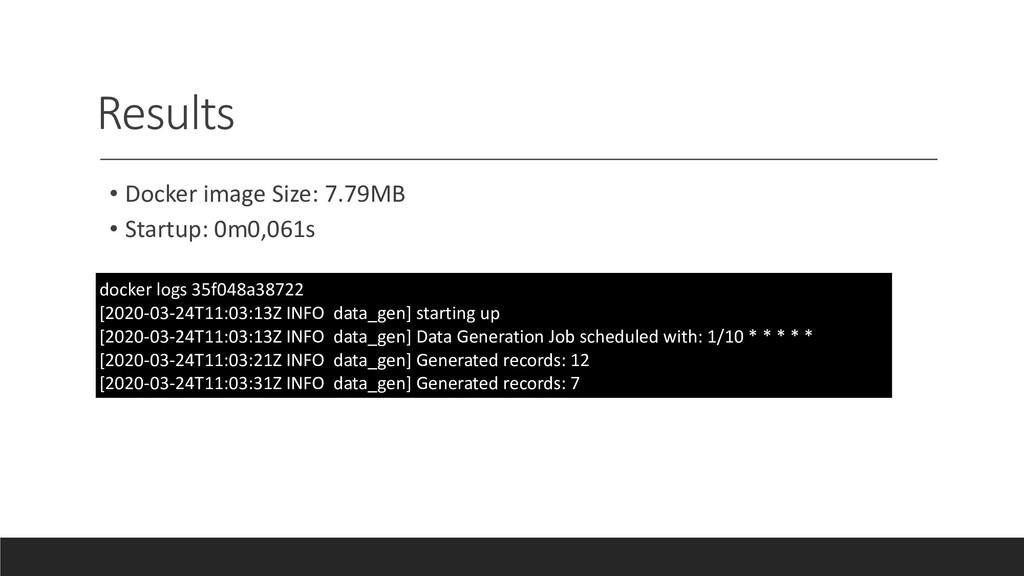 Results • Docker image Size: 7.79MB • Startup: ...