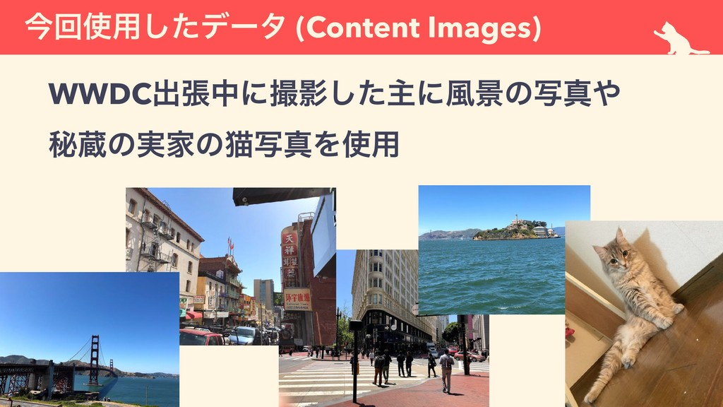ࠓճ༻ͨ͠σʔλ (Content Images) WWDCग़ுதʹӨͨ͠ओʹ෩ܠͷࣸਅ...