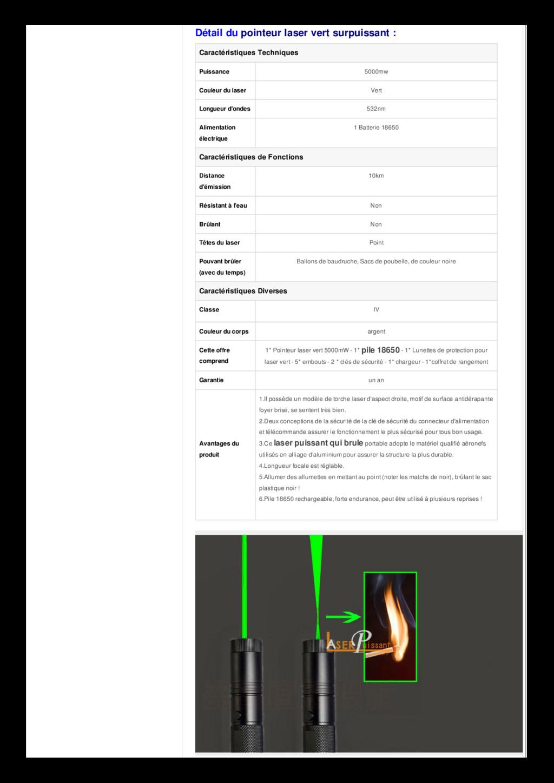 Détail du pointeur laser vert surpuissant : Car...