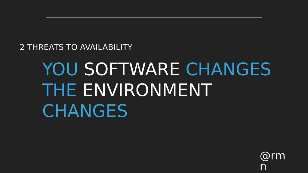 YOU SOFTWARE CHANGES THE ENVIRONMENT CHANGES @r...