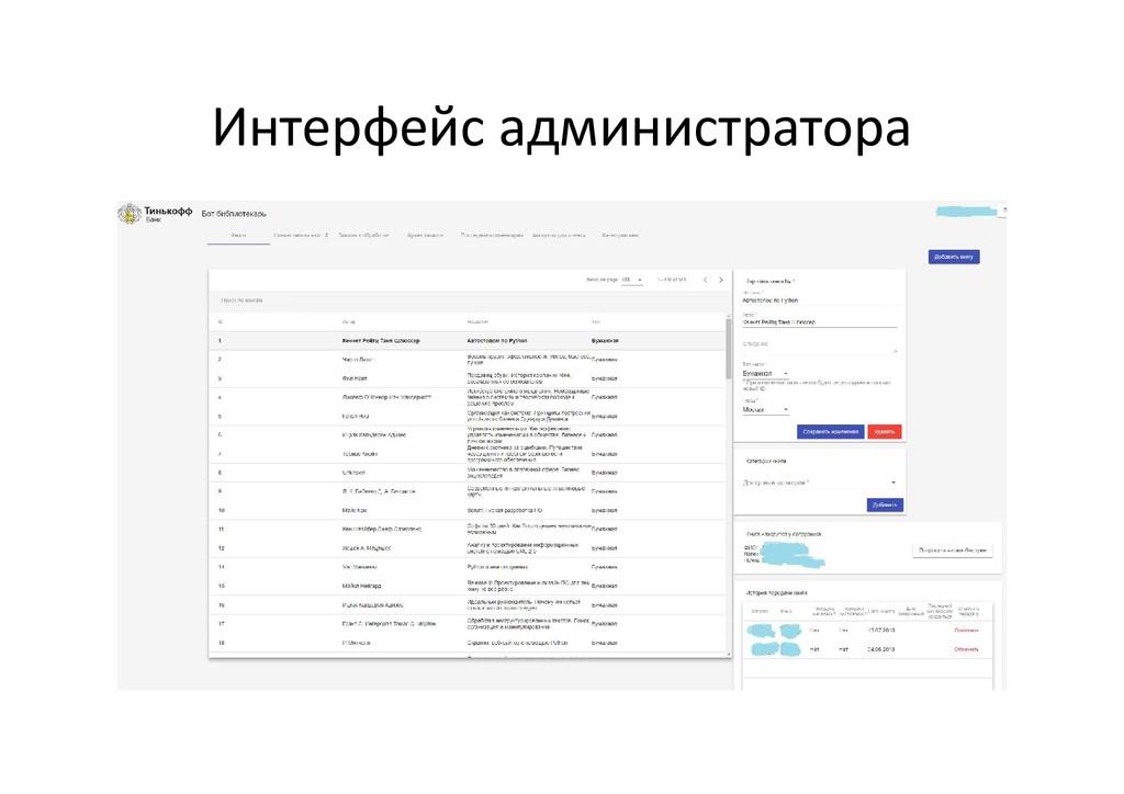 Интерфейс администратора