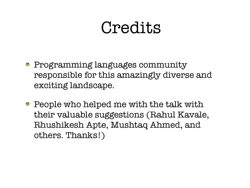 Credits Programming languages community respons...