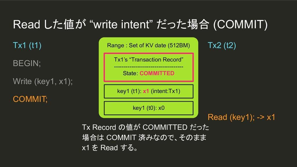 """Read した値が """"write intent"""" だった場合 (COMMIT) Range :..."""