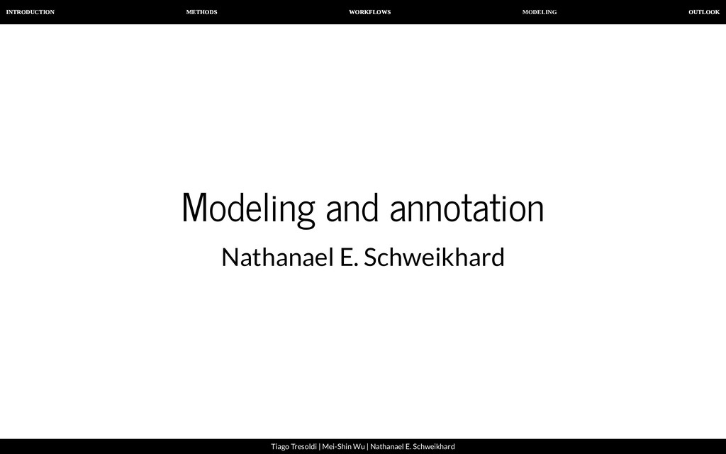 MODELING INTRODUCTION METHODS WORKFLOWS OUTLOOK...