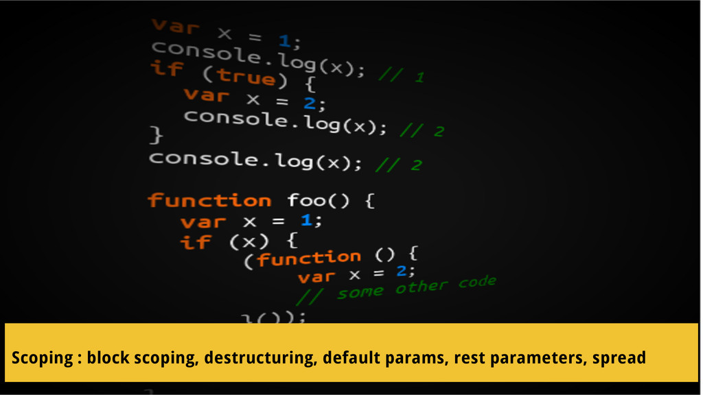 Scoping : block scoping, destructuring, default...