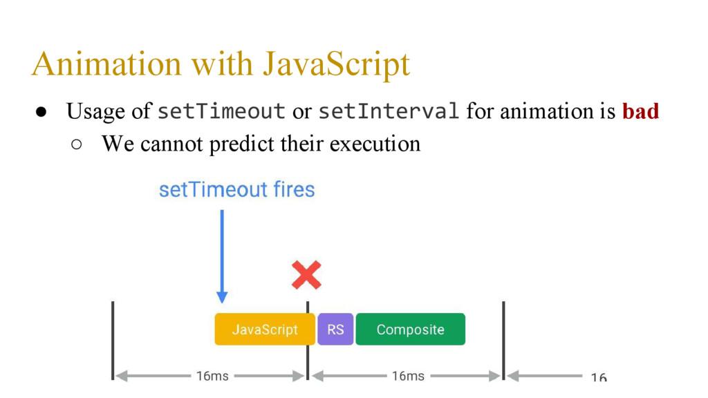 Animation with JavaScript ● Usage of setTimeout...