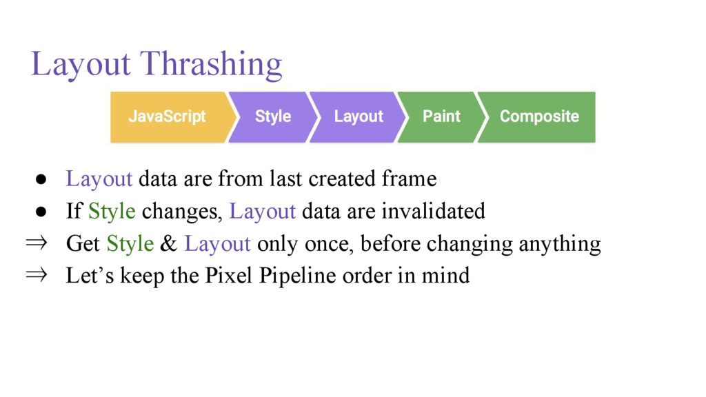 Layout Thrashing ● Layout data are from last cr...