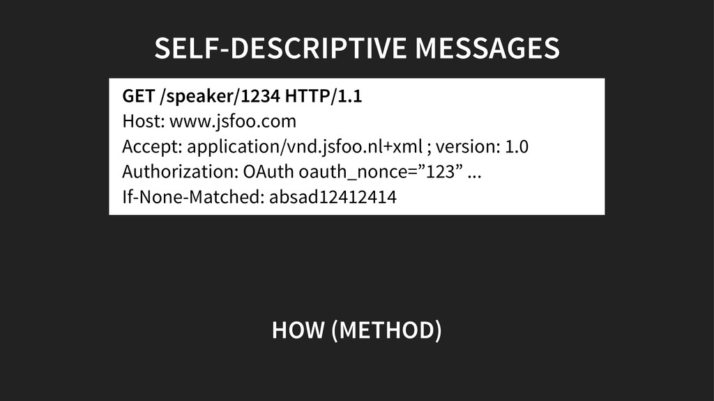 SELF-DESCRIPTIVE MESSAGES GET /speaker/1234 HTT...