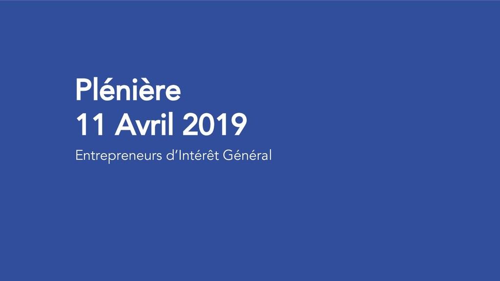 Plénière 11 Avril 2019 Entrepreneurs d'Intérêt ...