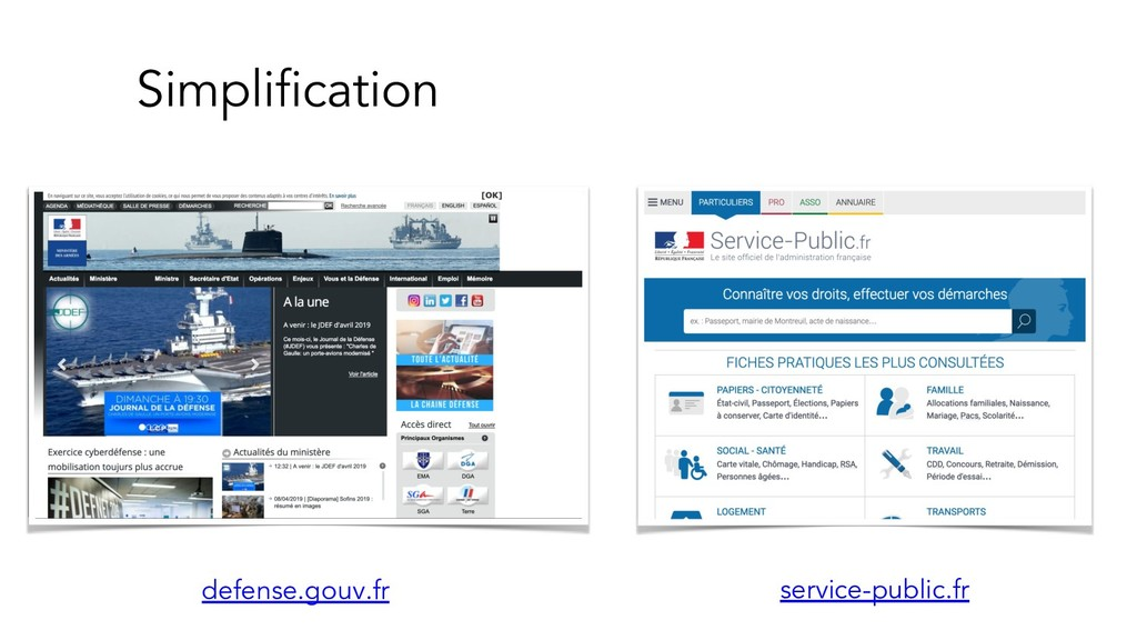 Simplification defense.gouv.fr service-public.fr