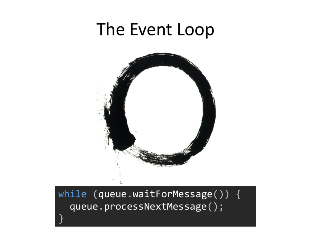 The Event Loop while (queue.waitForMessage()) {...