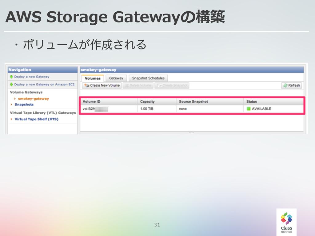 31 AWS Storage Gatewayの構築 w ϘϦϡʔϜ͕࡞͞ΕΔ