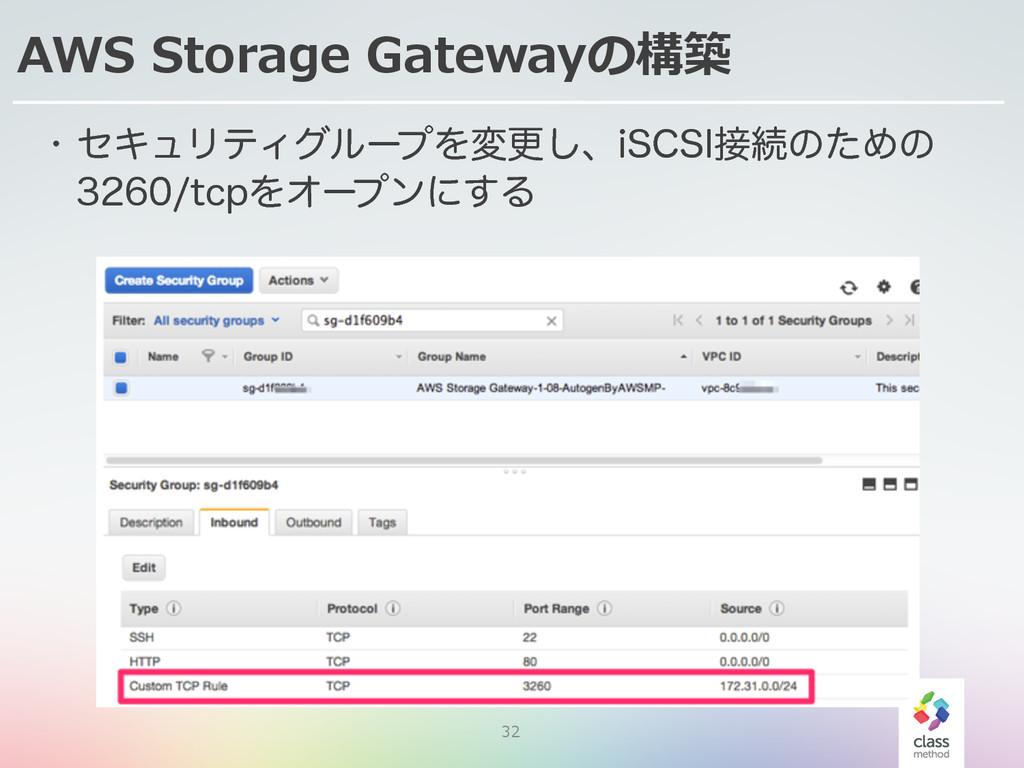 32 AWS Storage Gatewayの構築 w ηΩϡϦςΟάϧʔϓΛมߋ͠ɺJ4...