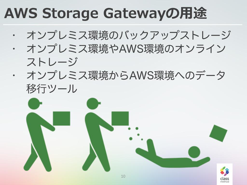 10 AWS Storage Gatewayの⽤用途 w ΦϯϓϨϛεڥͷόοΫΞοϓε...