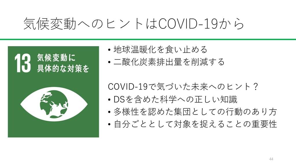 気候変動へのヒントはCOVID-19から • 地球温暖化を⾷い⽌める • ⼆酸化炭素排出量を削...