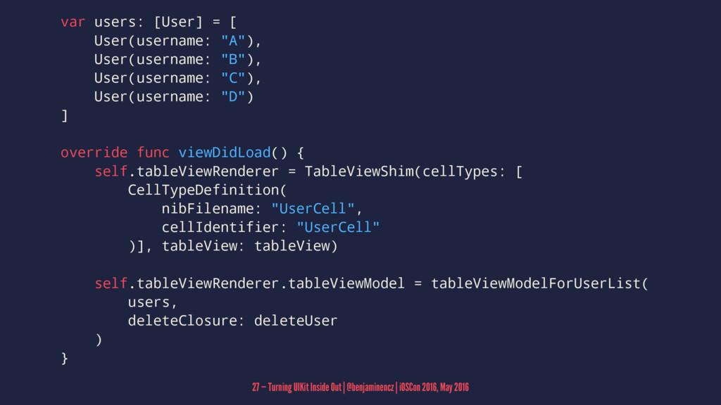 """var users: [User] = [ User(username: """"A""""), User..."""