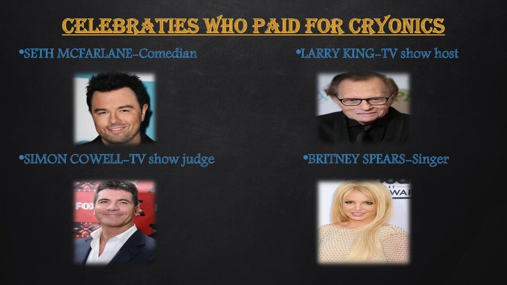 CELEBRATIES WHO PAID FOR CRYONICS *SETH MCFARLA...