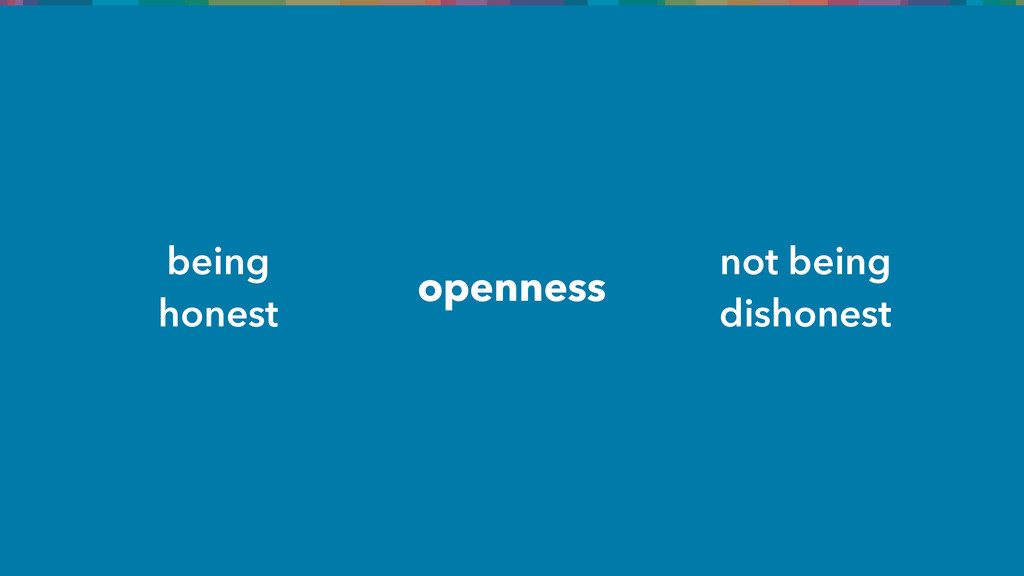 openness being honest not being dishonest
