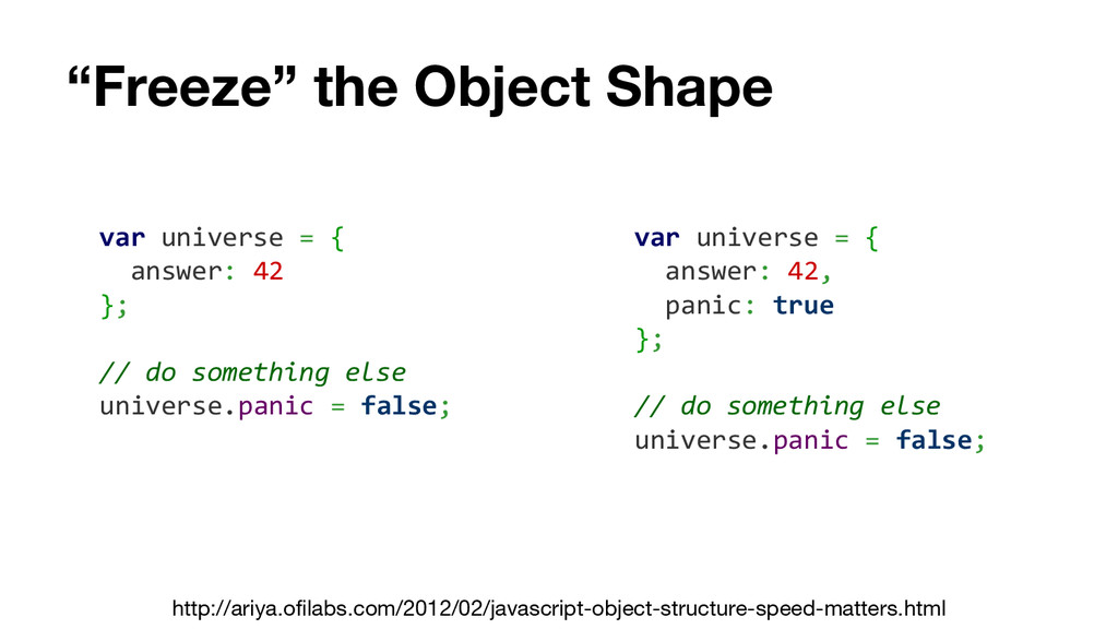 """Freeze"" the Object Shape var universe = { answ..."