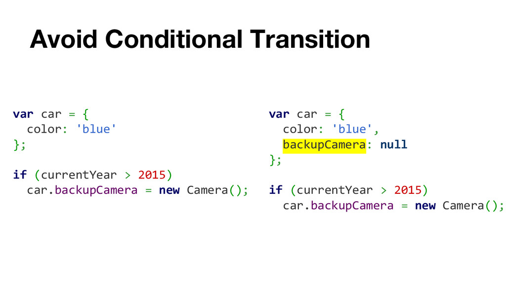 Avoid Conditional Transition var car = { color:...