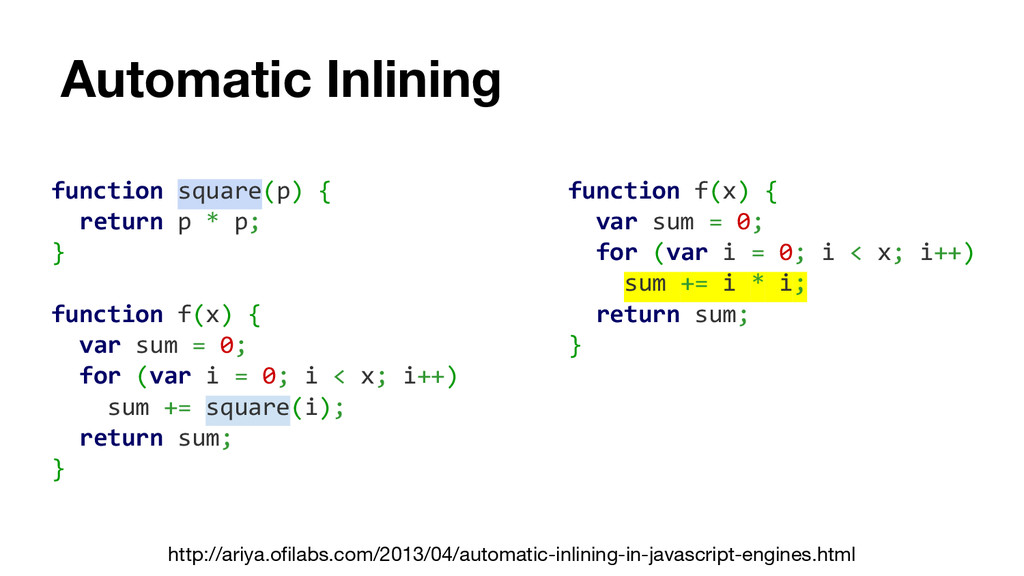 Automatic Inlining function square(p) { return ...