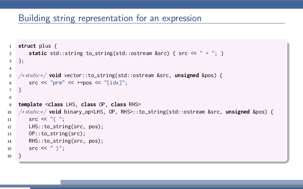 Building string representation for an expressio...