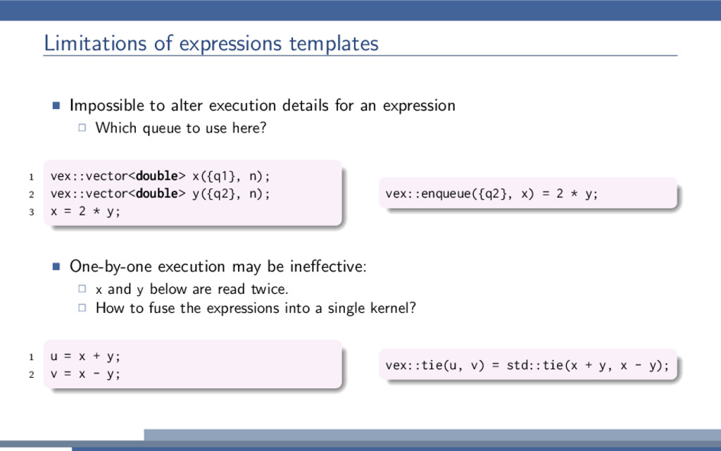 Limitations of expressions templates Impossible...