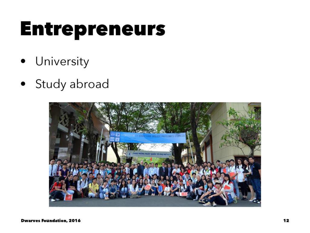 Entrepreneurs • University • Study abroad Dwarv...