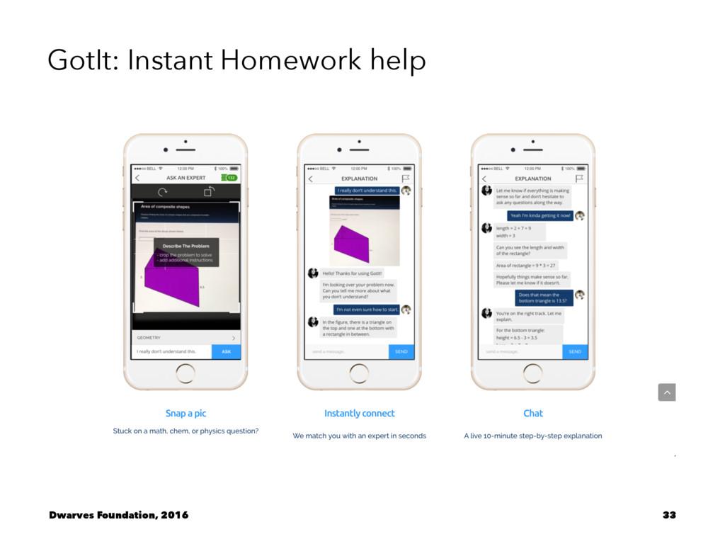 GotIt: Instant Homework help Dwarves Foundation...
