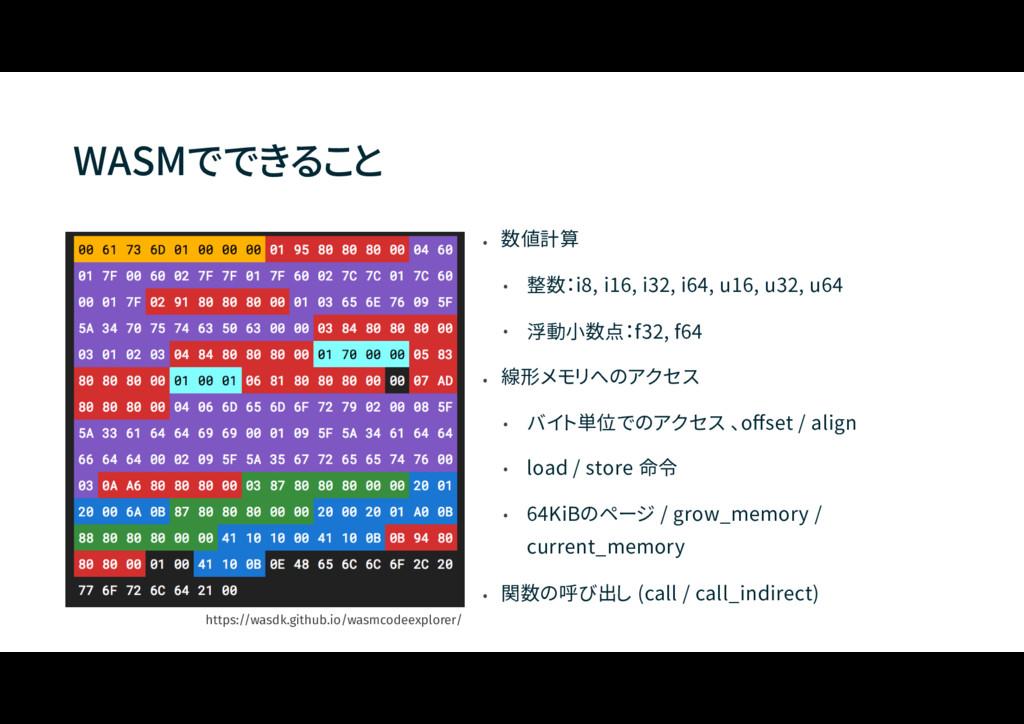 WASMでできること • 数値計算 • 整数:i8, i16, i32, i64, u16, ...