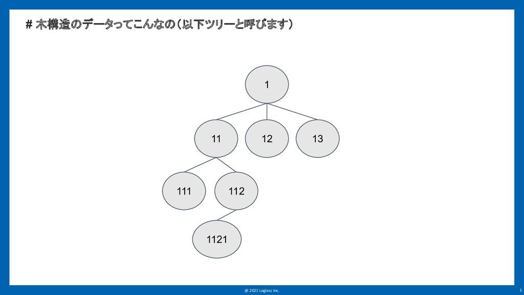 @ 2021 Loglass Inc. 5 # 木構造のデータってこんなの(以下ツリーと呼びま...