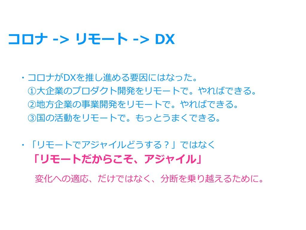 コロナ -> リモート -> DX ・コロナがDXを推し進める要因にはなった。 ①⼤企業のプ...