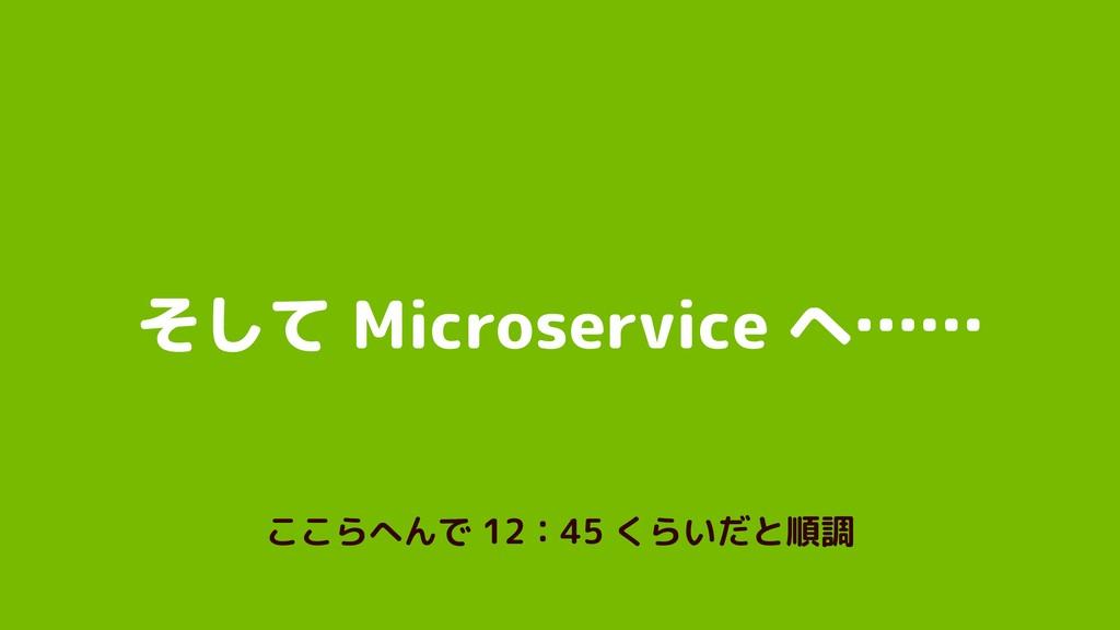 そして Microservice へ…… ここらへんで 12:45 くらいだと順調