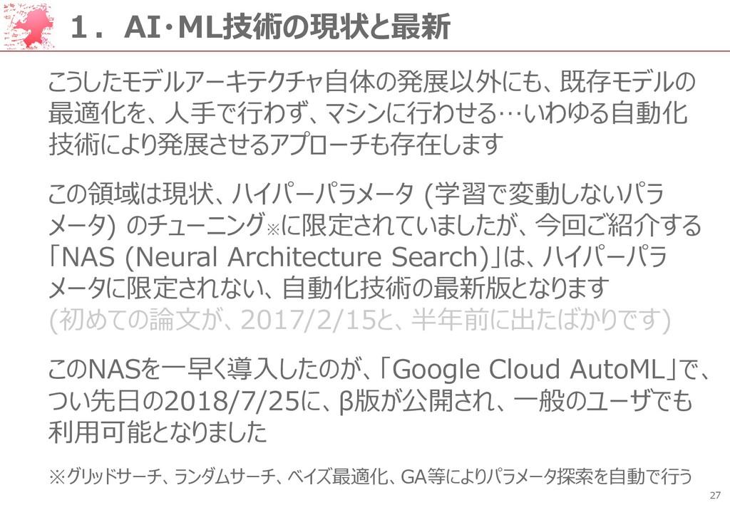 27 1.AI・ML技術の現状と最新 こうしたモデルアーキテクチャ自体の発展以外にも、既存モデ...