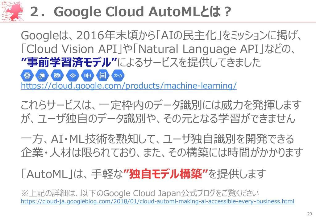 29 2.Google Cloud AutoMLとは? Googleは、2016年末頃から「A...