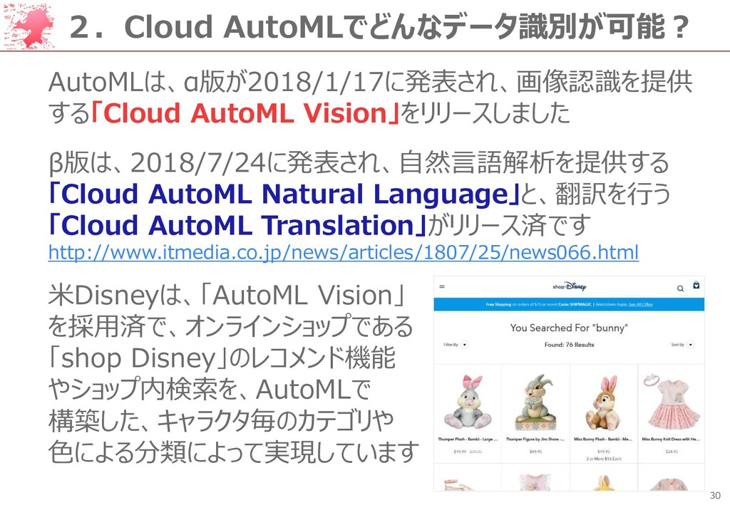 30 2.Cloud AutoMLでどんなデータ識別が可能? AutoMLは、α版が2018/...
