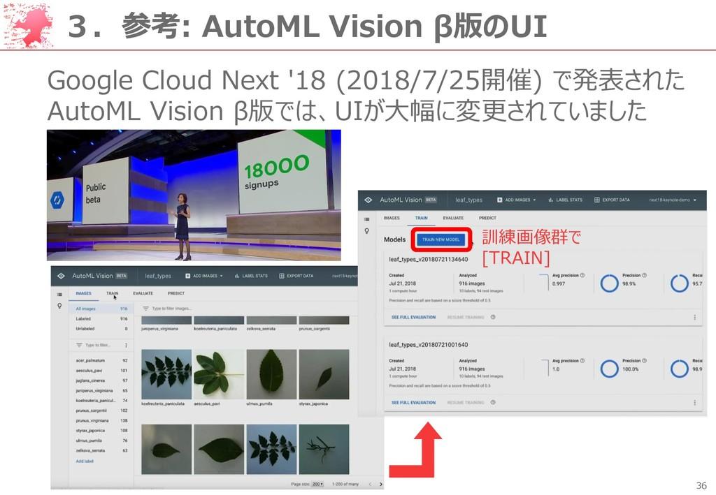 36 3.参考: AutoML Vision β版のUI Google Cloud Next ...